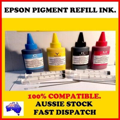 4x100 ml REFILL BULK PIGMENT INK for EPSON cartridges or CISS