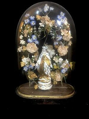 STUNNING ANTIQUE FRENCH CHRISTENING DOME , UK DELIVERY Wedding Cloche Bell Jar
