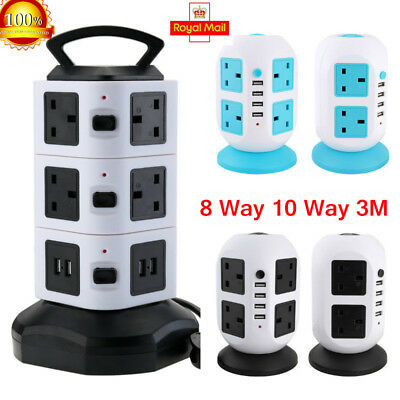 3M 10 Gang Way Surge Protected Tower Socket Extension Lead Cable 4 Usb Uk Plug