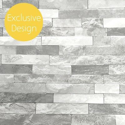 Grey Wallpaper | 3D Effect Slate Stone Charcoal Grey Exclusive Kitchen 902800