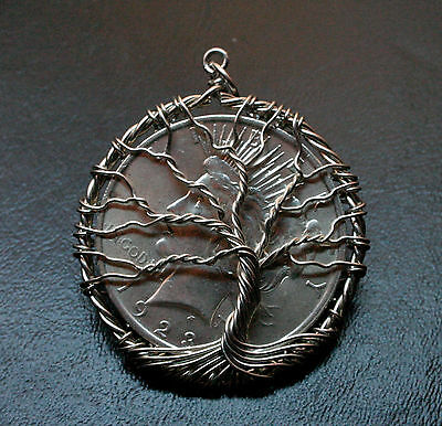 1923 Peace Dollar BU Brilliant Uncirculated $1 Silver Coin Tree Of Life Pendant