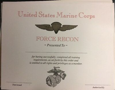 """United States Marine Corps  FORCE RECON Certificate. Fillin Own Info. 81/2"""" X 11"""