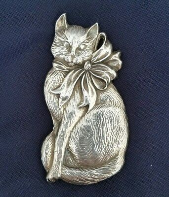 Gorham Silverplated Holiday Cat Ornament