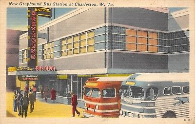 Charleston, WV-Linen Postcard View of Greyhound Bus Station and Buses Parked