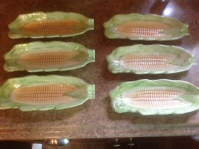 Vintage Ceramic Corn Cob Dishes Set of 6 Trays~Salt n Pepper Shakers w/tray VGC