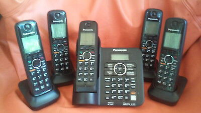 Complete Panasonic five receiver  speaker phone KXTG6641. GREAT condition
