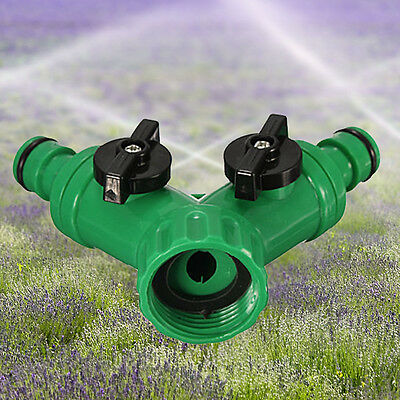 34''Two Way Double Garden Twin Tap Hose Pipe Splitter Faucet Connector Adap Q6C0