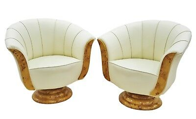 FABULOUS!! PAIR Maple Tulip shaped Art Deco style chairs