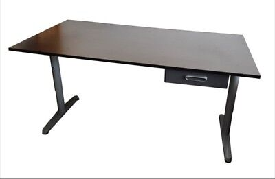 Ikea Gallant Desk With Adjustable Height Legs 160x80 Dark Wood / Silver