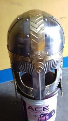 Historial Medieval Viking Helmet Battle Armor 18G Steel and Chainmail Historical