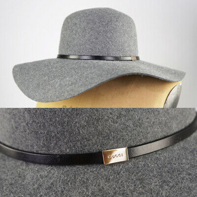 8fa4a35eca4 Sz L NEW  590 GUCCI Grey Rabbit Felt LEATHER TRIM Banded WIDE BRIM Winter  HAT