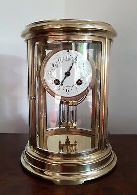A stunning French oval 4 glass mantle clock - c1870 by Tifanny & Co VG Condition