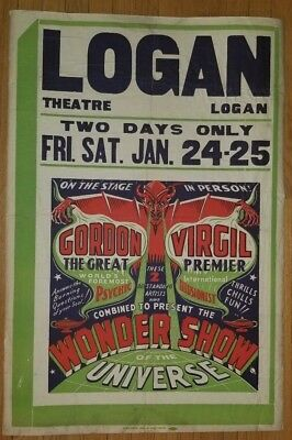 GORDON THE GREAT COMBINED WITH VIRGIL Wonder Show of The Universe Poster