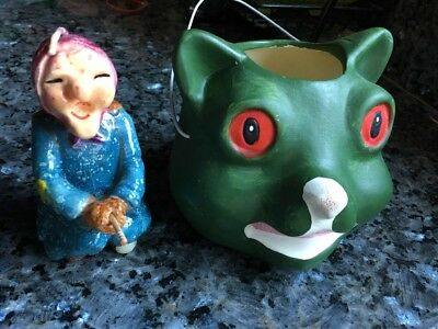 Lot Of Two Vintage Halloween Candles Witch On Broom And Cat