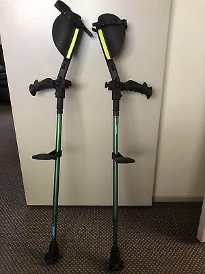 1SET Ergobaum forearm crutches W/ knee rest, LED light, beeper, and reflectors.