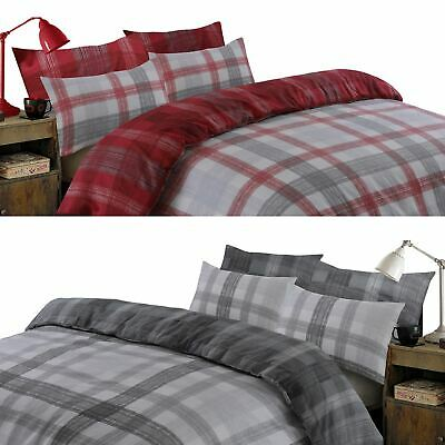 Dreamscene Boston Brushed Cotton Duvet Cover Pillowcase Flannelette Bedding Set