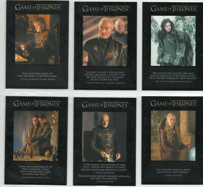 Game Of Thrones - Lot of 6 different Quotable chase cards NM Rittenhouse