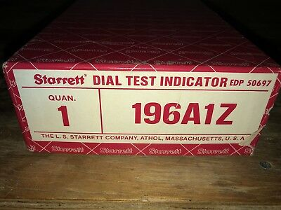 Excellent Starrett Dial Test Indicator Plunger Model 196A1Z w/Attachments