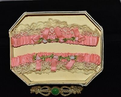 Gorgeous Antique 1920s Pink ~GARTER SET~ in ***ORIGINAL BOX*** Unused