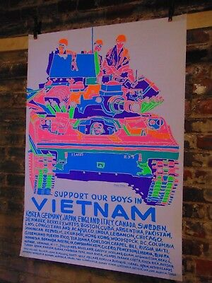 "Vintage/Original~Poster Prints~""Support Our Boys in Vietnam"" ~ Blacklight Poster"
