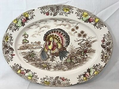 "VINTAGE 18.5"" TOM TURKEY 1953 Thanksgiving Tray Platter TRANSFERWARE Oval Japan"