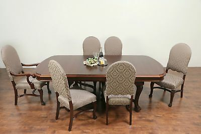 Antique Dining Set, Table & 3 Leaves, 6 Chairs New Upholstery, Rockford #29279