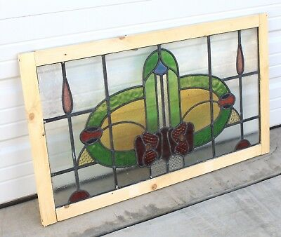 Antique English 7-Color Leaded Stained Glass TRANSOM Window Reframed Art Deco #2