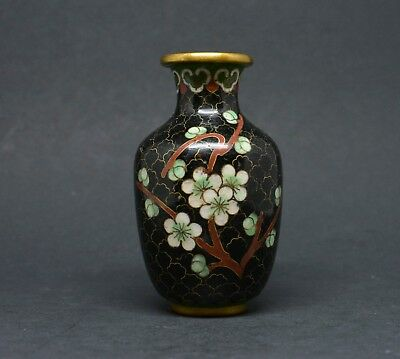 Vintage Chinese Miniature Cloisonne Vase ~ 3 inches tall ~