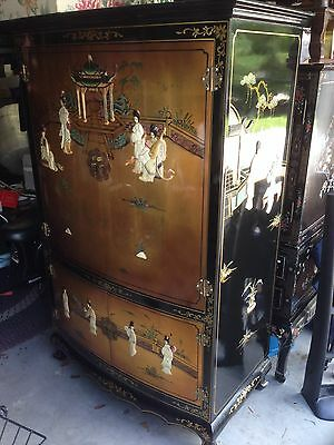 Vintage Chinese Gold Leaf Cabinet Black Lacquer Mother Of Pearl