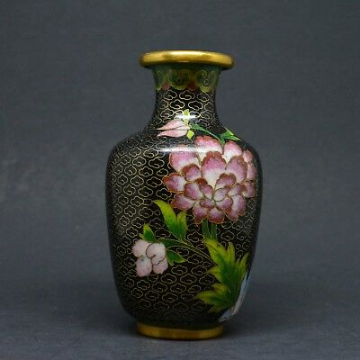 Vintage Chinese Miniature Cloisonne Vase ~ 4 inches tall ~