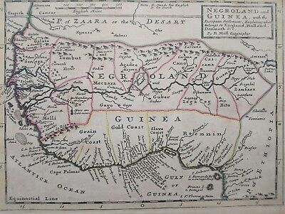 1732 Herman Moll Map Negroland and Guinea West Africa from Senegal to Gabon Map