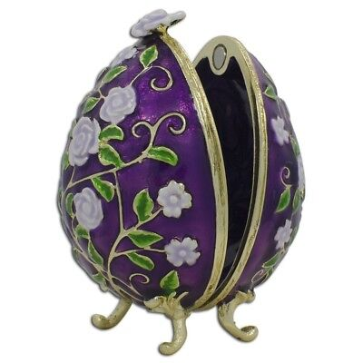 Purple Garden Flowers Royal Inspired Russian Easter Egg 2.75 Inches