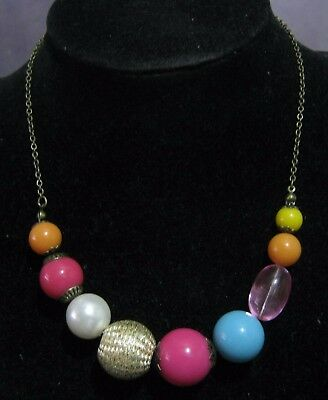 Wonderful bronze tone metal chain necklace various multi-coloured beads