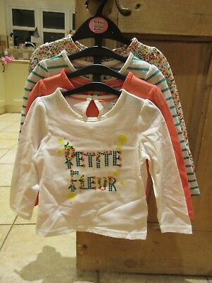 New M&S Girls Pure Cotton Long Sleeve Tops 4 x Pack Age 18 - 24 months