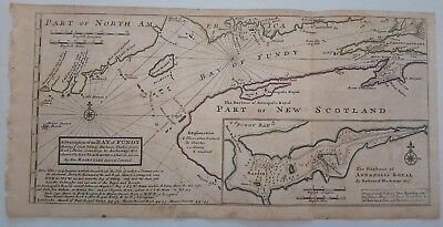 1732 Herman Moll Map Description of the Bay of Fundy Harbour of Annapolis Royal