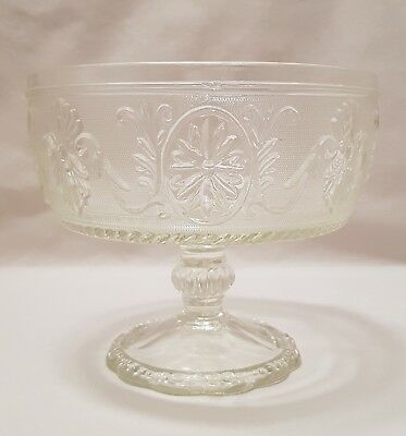 Vintage – Indiana Glass – Clear Sandwich Compote - Flower Cameo
