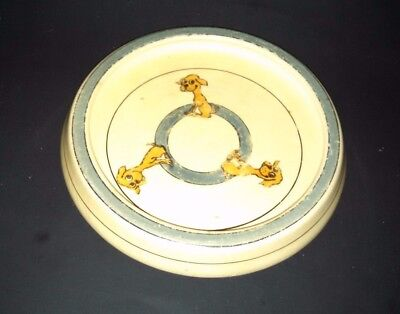 Vintage Baby Plate 3 Dogs Roseville Pottery