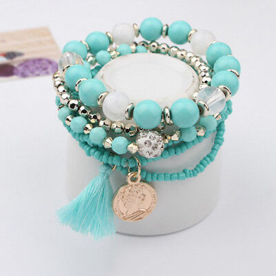 2018 Fashion Women Boho Multilayer Tassel Beads Bracelet Bangle Jewelry New