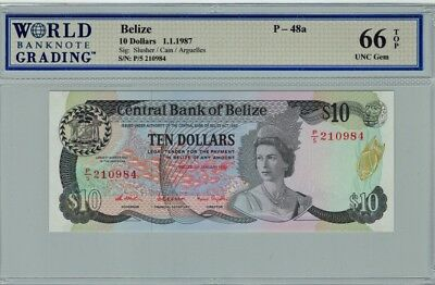 BELIZE 1987 $10 TEN DOLLARS P-48a GEM UNC 66