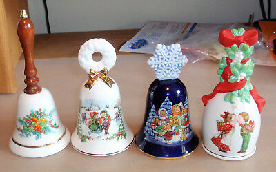 Lot of 4 Vintage Avon Porcelain Christmas Bells: 1985, 1986, 1987 & 1989
