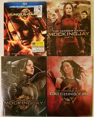THE HUNGER GAMES COMPLETE 4 FILM COLLECTION Catching Fire STEELBOOK! Mockingjay