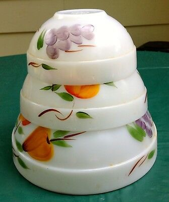 Set of 3 Fire King nesting milk glass mixing bowls with painted fruit design