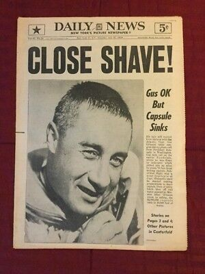 Gus Grissom - Mercury Space Flight - 1961 New York Daily News Newspaper