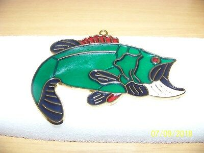 BASS FISH STAINED GLASS Fish Bass Sun catcher Stained Glass Resin window hanging