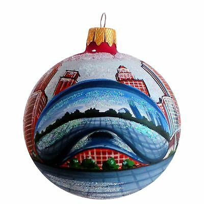 Chicago Bean Glass Ball Christmas Ornament 3.25 Inches