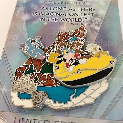 Disney 60th Diamond Anniversary Decades Grizzly River Run Mickey Pluto LE Pin