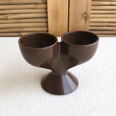 Rare RETRO Vintage MID CENTURY Chocolate BROWN Melamine PLASTIC Double EGG Cup