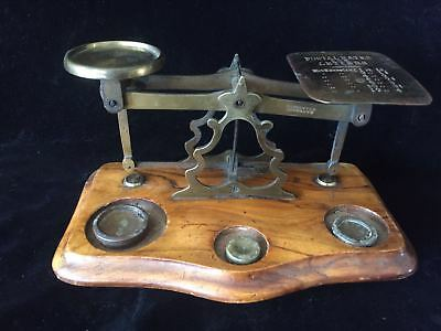 Antique brass postal scale wood base original condition with weights