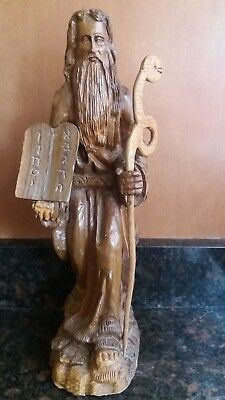 Vintage Moses Ten Commandments hand Carved Olive Wood Statue from isreal 1960's