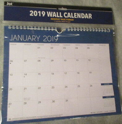 2019 WALL MONTHLY Metal Hanging SPIRAL Calendar PLANNER Solid Blue Free Shipping